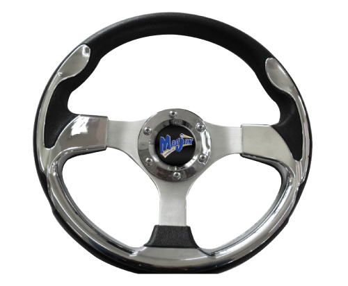 Image of the Ultra Collection Chrome Steering Wheel accessory.