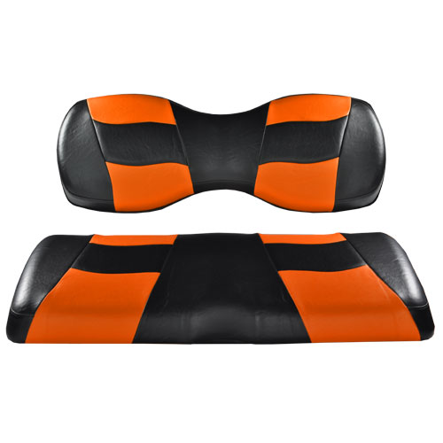 Image of the RIPTIDE Black Orange Two Tone Seat Covers accessory.