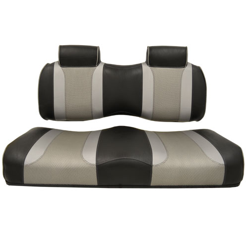 Image of the Tsunami Seat Cushion Set Black and Liquid Silver Rush and Liquid Silver Wave accessory.