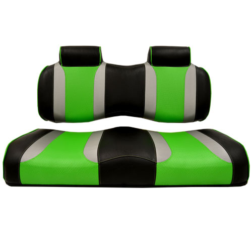 Image of the Tsunami Seat Cushion Set Black with Liquid Silver Rush and Green Wave accessory.