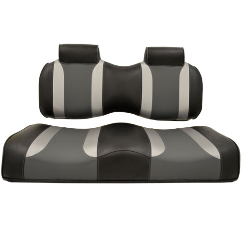 Image of the Tsunami Seat Cushion Set Black with Liquid Silver Rush and Lagoon Grey accessory.