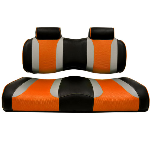 Image of the Tsunami Seat Cushion Set Black with Liquid Silver Rush and Orange Wave accessory.