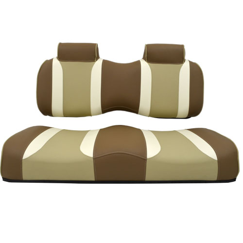 Image of the Tsunami Seat Cushion Set Caramel with Oyster and Autumn Harvest accessory.